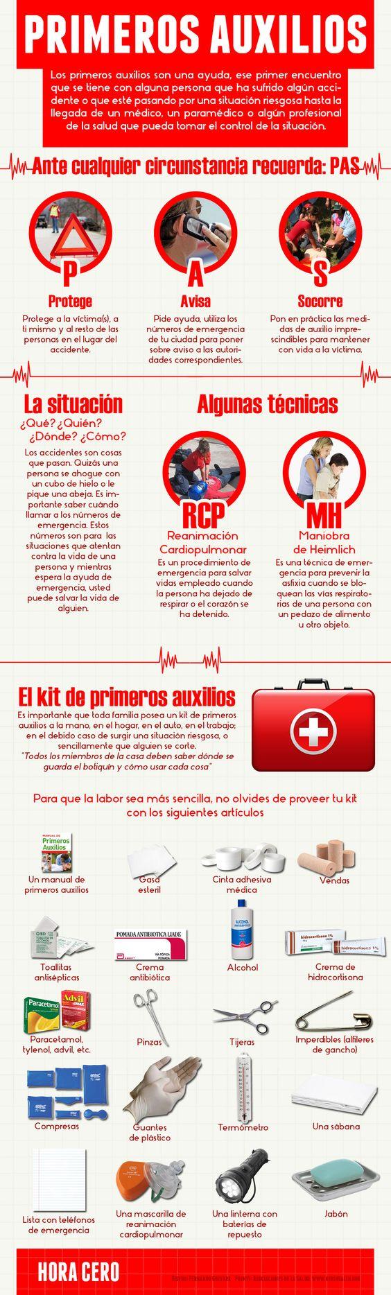 Esta infografía trata sobre los primeros auxilios, es una pequeña guía sobre los primeros auxilios y lo básico que debe de haber en un botiquín de primeros auxilios