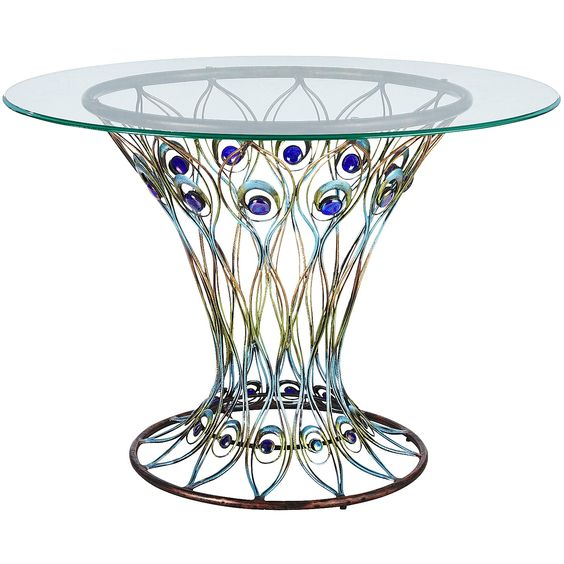 Blue Peacock Bistro Table - Glass: