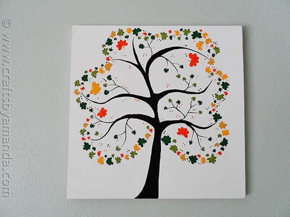 Shamrock tree on canvas recipe summer adult crafts for Summer craft ideas for adults