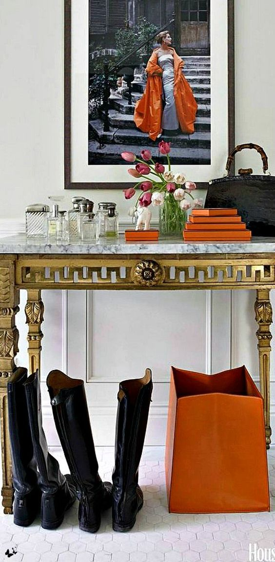 .I usually think of orange as a casual color, But it works with this Fab table! Etc.: