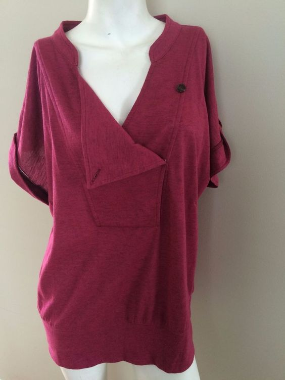 LE CHATEAU Pink Shirt Asymmetrical Neckline TUNIC S/S size XL casual top #LECHATEAU #KnitTop #Casual