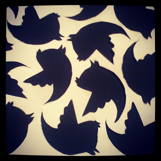 Work with paper. Twitter logo.