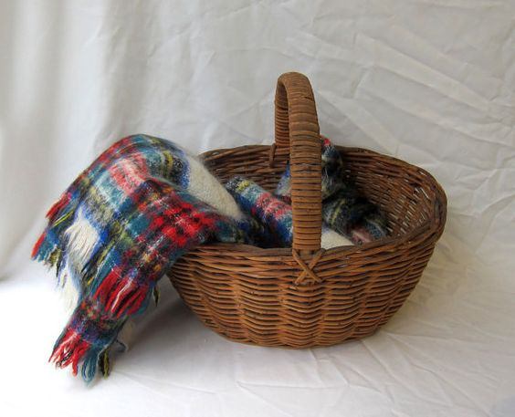 vintage retro s tartan plaid mohair wool picnic by evaelena