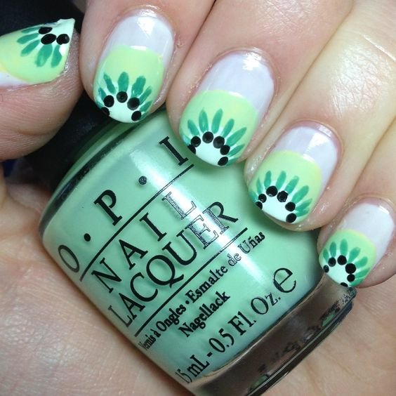 Kiwi nails and other fruity nail designs!