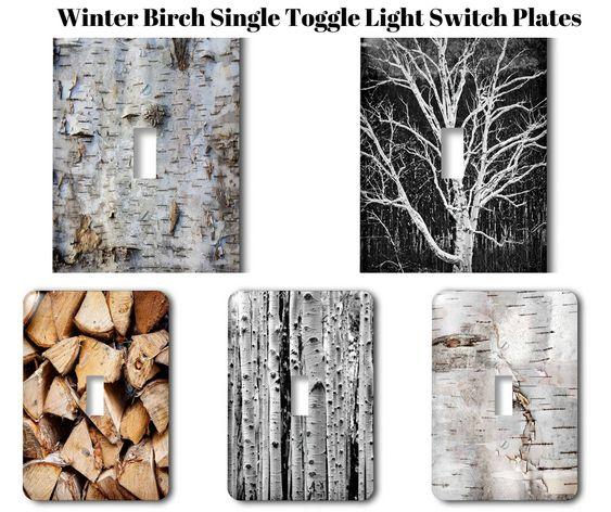 Winter Birch Single Toggle Light Switch Plates