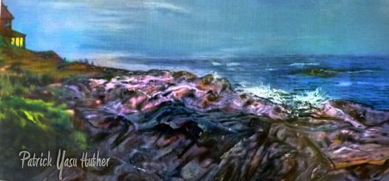 Maines rugged shores acrylic and craypas on linen 12 x 24