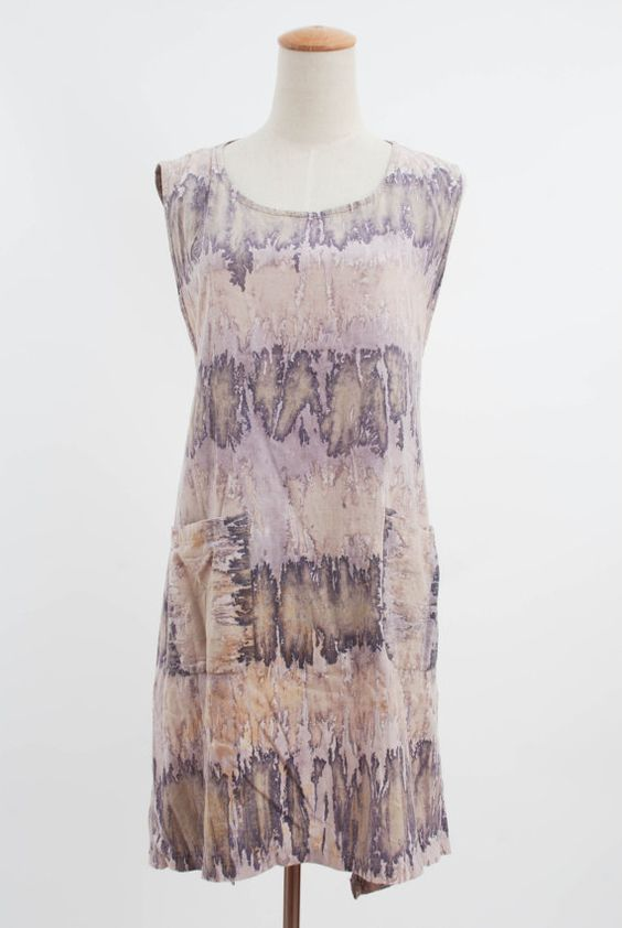 1970s Mauve Purple Beige Tie Dye Shift Wrap Around Festival Dress / Summer Swimwear Drape POcket Cork Print Spring Beach Dress Free Size  https://www.etsy.com/shop/FATFAM