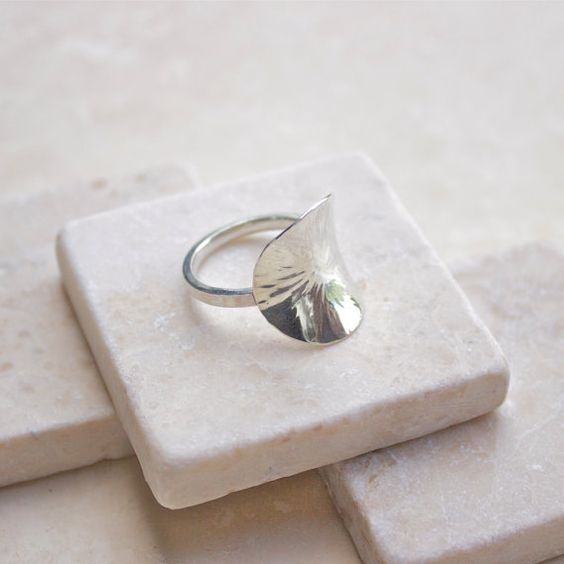 Hammered Lily Pad Ring Silver Ring Hammered by DesignArabesque