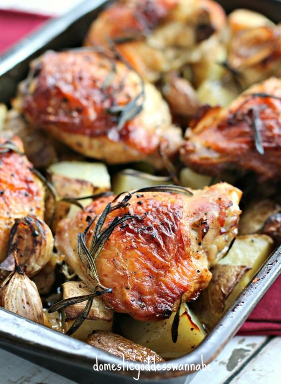 One-Tray Roasted Rosemary Chicken And Potatoes