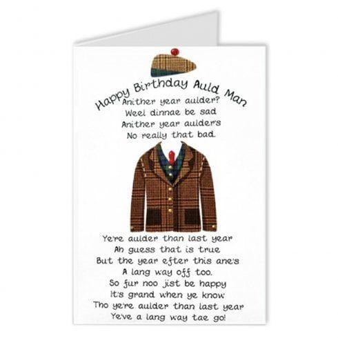 Embroidered Originals Auld Man Poem Scottish Birthday Card Bd74 Funny Birthday Cards Birthday Cards Happy Birthday Man