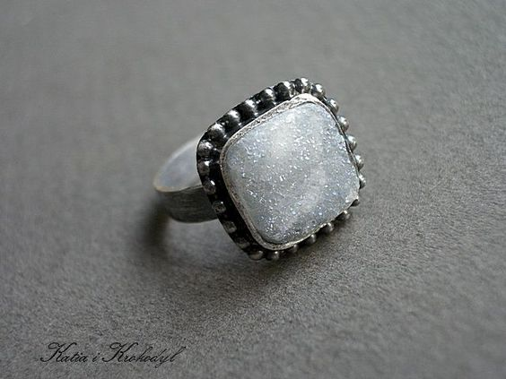 SUGAR - silver ring with agate druse