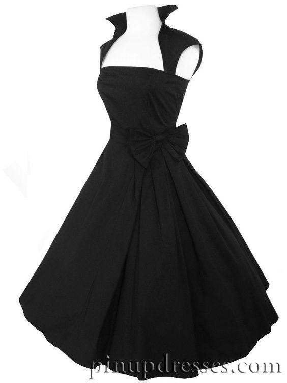 Retro rockabilly 50s style black full skirt dress with big bow ...