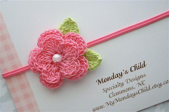 Crochet Flower Headband in Pink Pearl - Baby Headbands to Adult. $5.99, via Etsy.