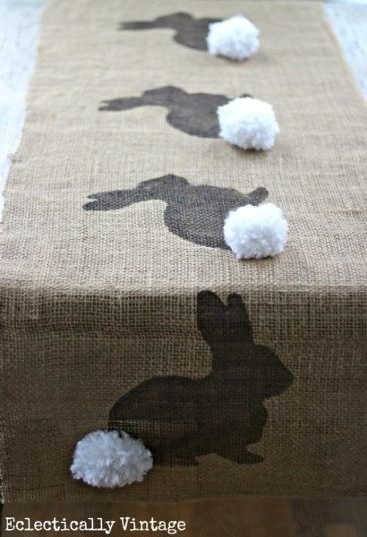 HA, too cute! Bunny Burlap Runner - Stencil first and then add the pom!: