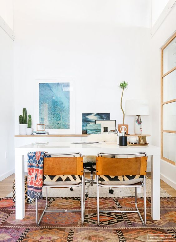 white modern eclectic bohemian home office