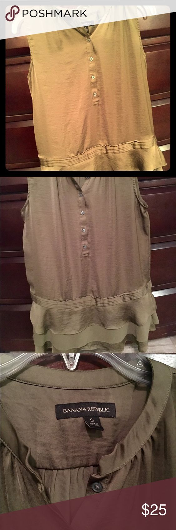 Ruffle trim sleeveless blouse Olive green sleeveless top, button front (worn one time--excellent condition!! Banana Republic Tops