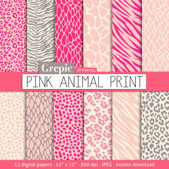 "Pink animal print digital paper: ""PINK ANIMAL PRINT"" with pink zebra, pink panther, tiger, giraffe, leopard pattern for scrapbooking, cards"