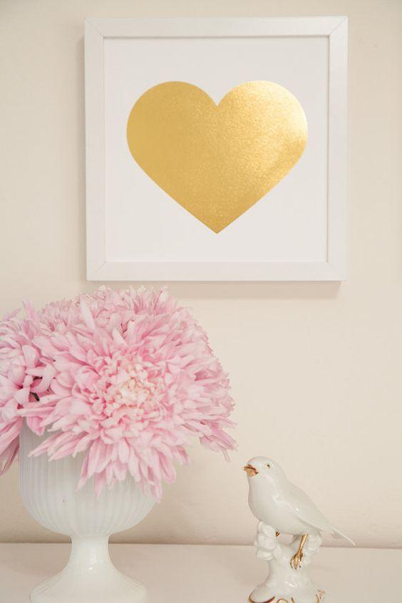 Gold Foil Heart Print 9x9 Home Decor Metallic By