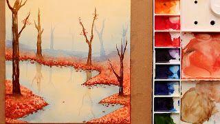 تعليم الرسم كيف ترسم منظر طبيعي بالالوان المائية بحيرة واشجار و ورق الخريف Http Ift Tt 2t0drf1 تعلم الرسم بالالوان المائية خطوة بخطو Art Painting Love Art