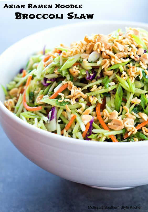 Asian Ramen Noodle Broccoli Slaw - This Asian inspired broccoli slaw is an amazing dish to make when you'e in the mood to shake things up a little. You know what I mean, in those moments