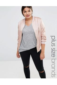 Missguided Plus Satin Bomber Jacket - Pink https://modasto.com/missguided/kadin-dis-giyim/br40763ct54