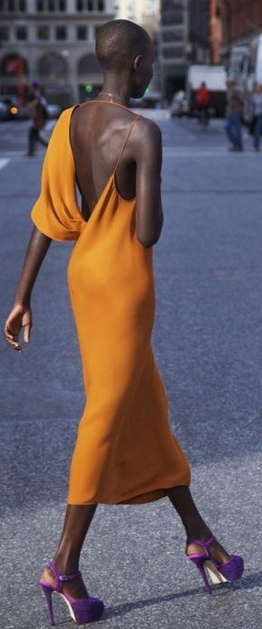 Orange Silk Asymmetrical Maxi Dress
