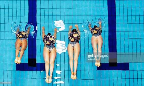 Great Britain perform during the Womens Synchronised Swimming Free Routine at Europa-Sportpark on August 14, 2014 in Berlin, Germany.