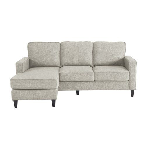 Mid Century Modern Small Space Sectional Sofa With Reversible