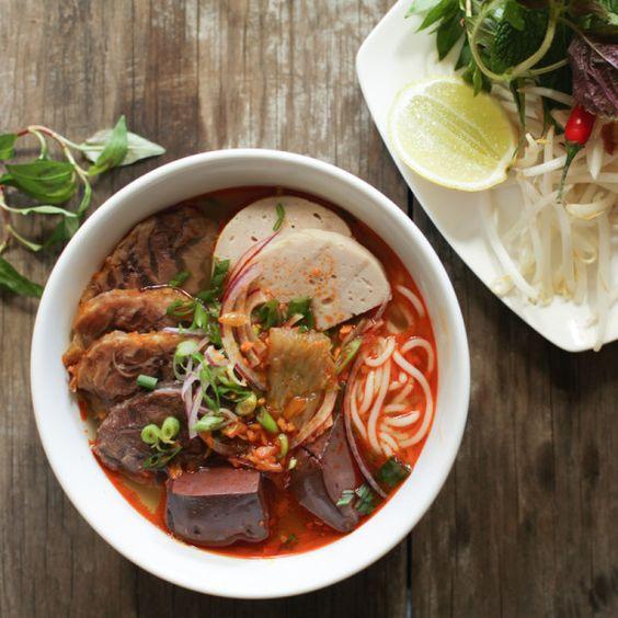 Ho Chi Minh City street food: bowl of bun bo hue