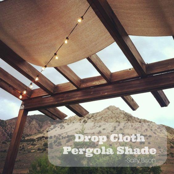 Inexpensive #DIY Drop Cloth Pergola Shade from Salty Bison via www.thirtyhandmadedays.com