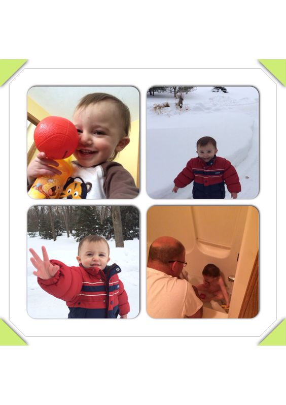 Loves the snow, smiles, bath time and his Grandpa