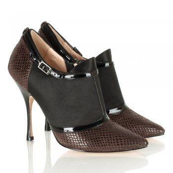 Lucy Choi Stasia Brown Reptile Heeled Ankle Boot..... what a pair of shoes