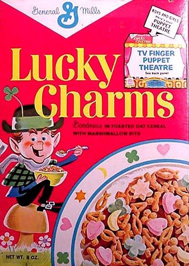 As I remember, these were Lucky Charms cereal: pink hearts, yellow moons, orange stars, and green clovers. Pure and unadulterated, before blue diamonds and purple horseshoes and rainbows and balloons and... what's next? #CPirishluck