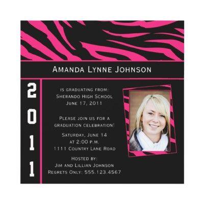 Pink and Black Zebra Graduation Party Invitation on Zazzle
