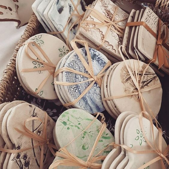Handmade ceramic coasters by Charlotte Hupfield