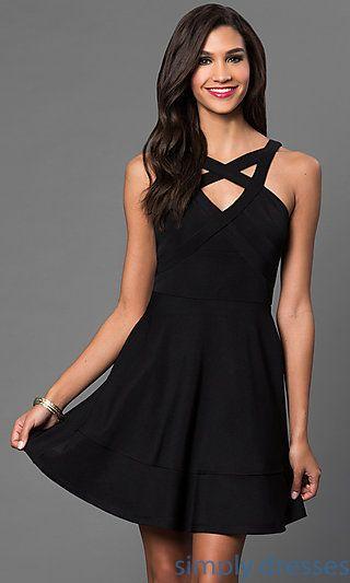 Sheer Back Panel Short Emerald Sundae Black Dress - Shops ...