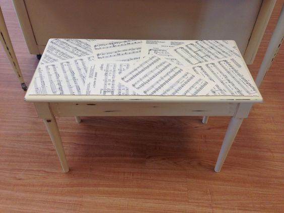 piano bench painted cream with chalk paint by annie sloan piano sheet music modge podged bench painted chalk paint