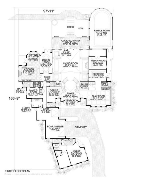 Main Level   Floor plans   Pinterest   Mission Style      bedroom w  Maid    s Room and Guest Cottage   Well  my huge fantasy house wouldn    t be Mediterranean on the outside    House Plans