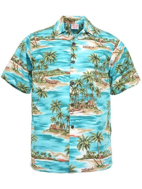 Paradise Teal Cotton Men's Vintage Hawaiian Shirt | Shirts ...