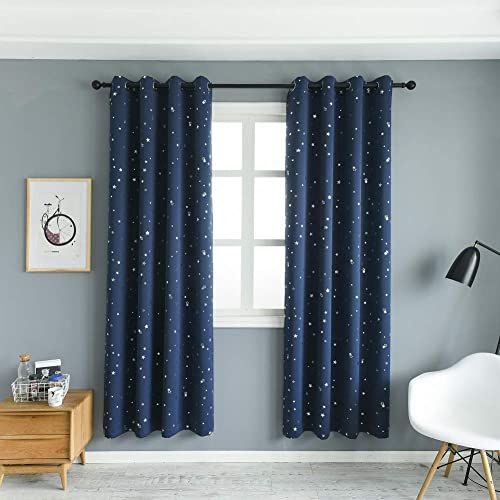 Buy Mangata Casa 2 Panels Blackout Curtains Night Sky Twinkle Star Kids Room Thermal Insulated Grommet Bedroom Drapes Navy 52x84in Online Seetopstar In 2020 Bedroom Drapes Blackout Curtains Kids Blackout Curtains