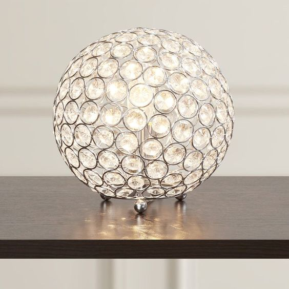 """Lamour Crystal Ball 8"""" H Table Lamp with Sphere Shade"""