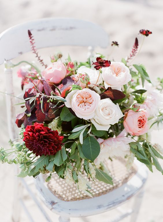 Beautiful Plum and Pale Pink Wedding Flowers by Blue Sky Flowers - Coastal Wedding Inspiration With Flowers by Blue Sky Flowers Styling by Rosy Apple Events Dresses by Cherry Williams London and Julie Michaelsen Photography
