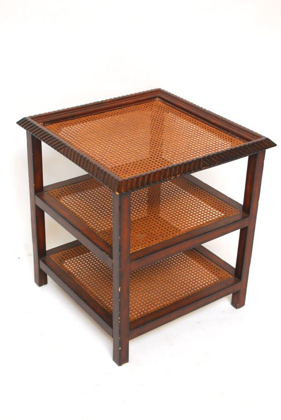 Three Tiered Caned Walnut Side Table by ErinLaneEstate on Etsy