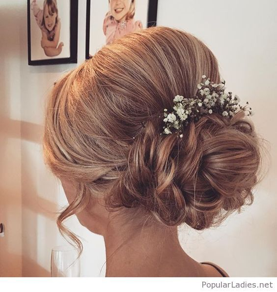 Low Bun With Flowers For Wedding Time Bridesmaid Hair Hair Styles Bride Hairstyles