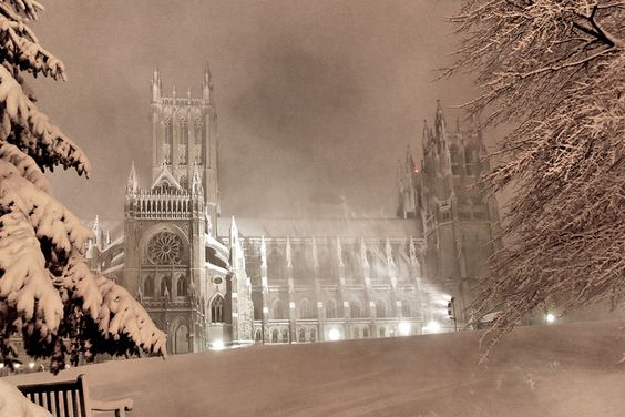 National Cathedral at Night in the Storm