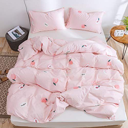 Lurson Girls Blush Pink Duvet Cover Full Queen Set Fruit Peach 100 Organic Cotton Teens Baby Pink Sweet Peach Revers Pink Duvet Pink Bedding Room Ideas Bedroom