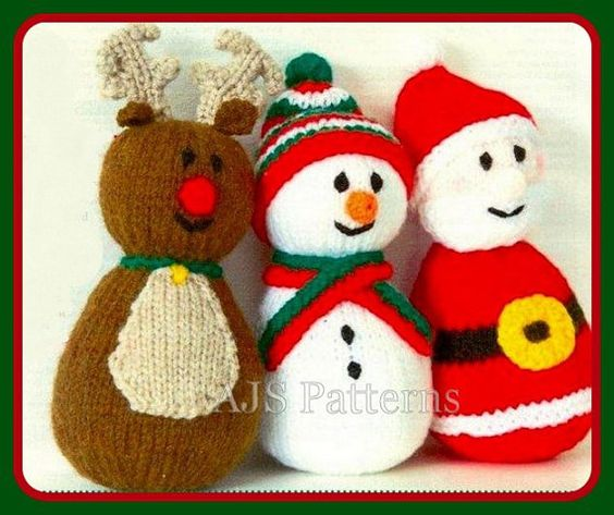 This PDF knitting pattern is for making cute wobbly toys, a Santa (Father Christmas), a Reindeer and a Snowman made from one basic shape on Etsy