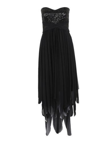 Langes Chiffon-Kleid mit Pailetten