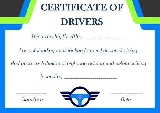 Drivers Training Certificate Template In 2021 Certificate Of Completion Template Training Certificate Certificate Templates