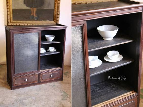 Rotto♪古い引き出し2杯付きダイヤガラス戸の収納棚 食器棚本棚_画像1